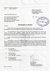 MOV Vendor Registration Letter